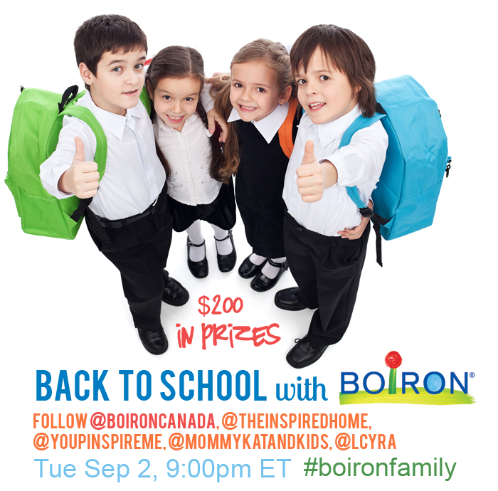 Back to School Twitter Party with Boiron Canada: Keep your family healthy with natural homeopathic medicine! Sept 2, 9pm EST.