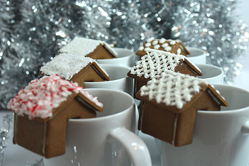 Gingerbread House Perches for Hot Chocolate Mugs
