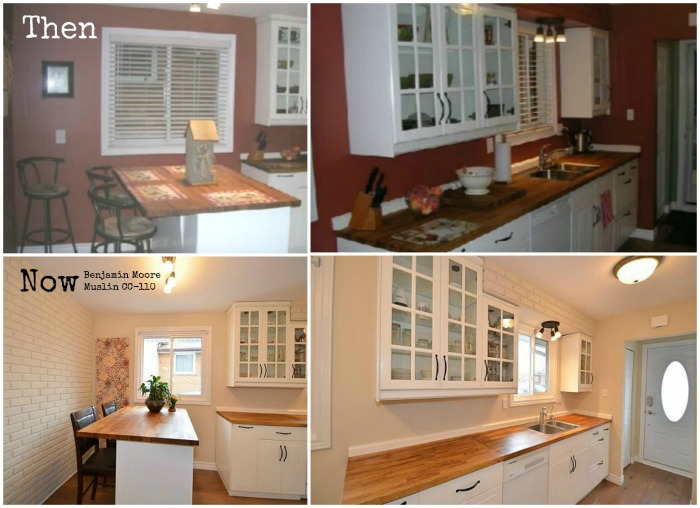 Bold red to Fresh Muslin from Benjamin Moore - opens up the kitchen and accents the butcherblock counters