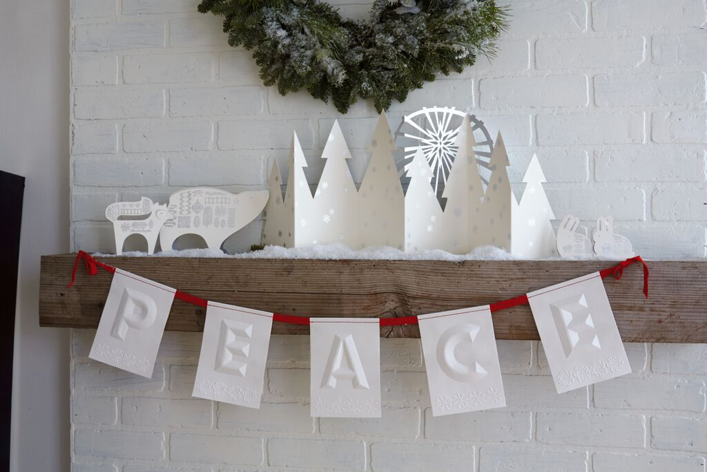 Gorgeous White Embossed Peace Christmas Banner #HallmarkfortheHolidays