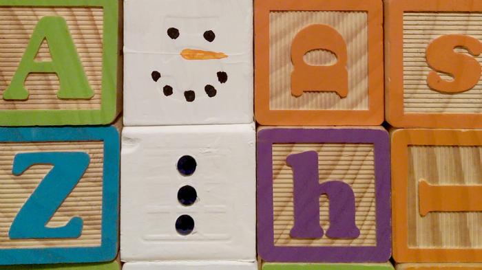 Easy Snowman Craft from Wooden Alphabet Blocks