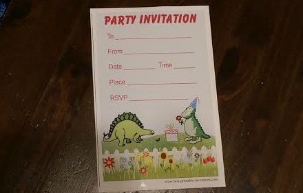 Dinosaur Party Invitation printed on Epson EcoTank Printer