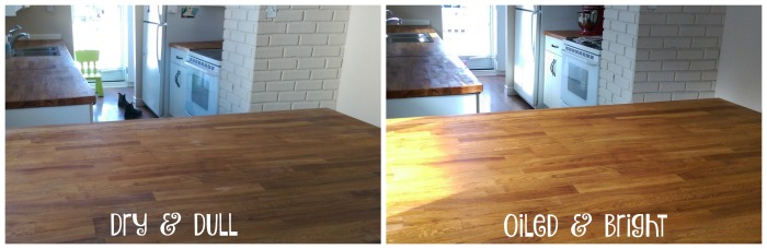 How to oil a butcher block counter: before & after