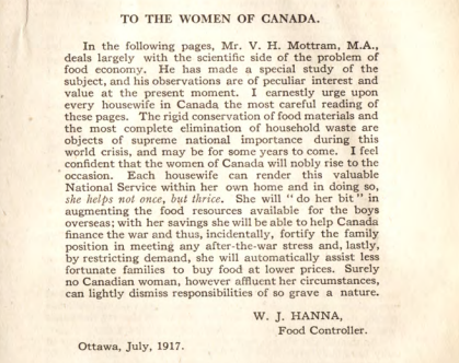 World War I Rations: A Woman's Duty