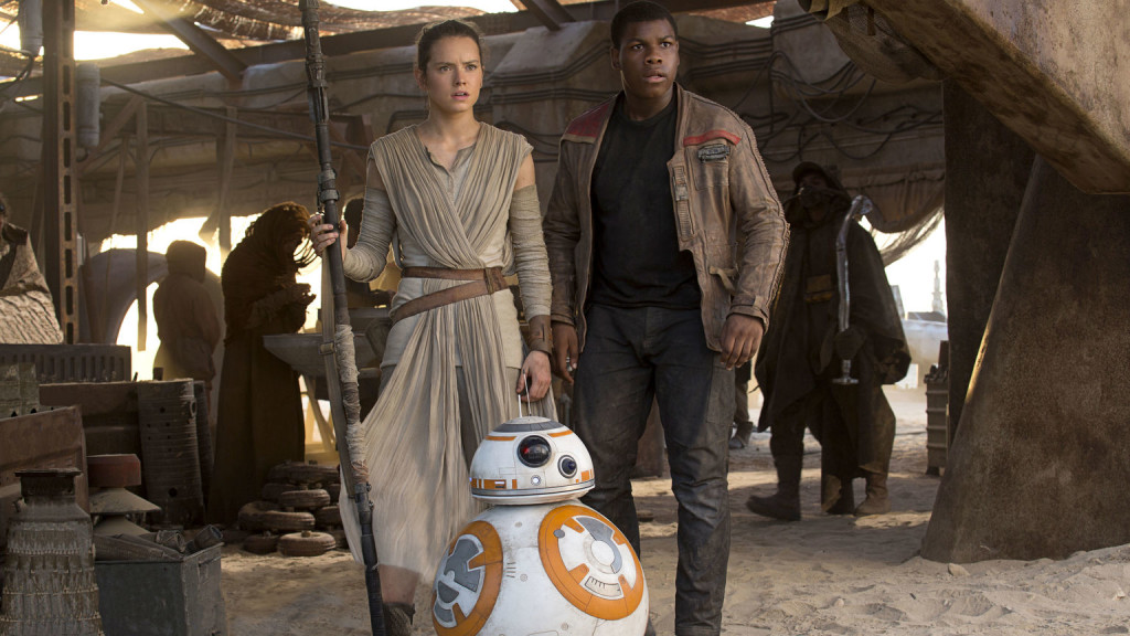 Rey, Finn, and BB-8