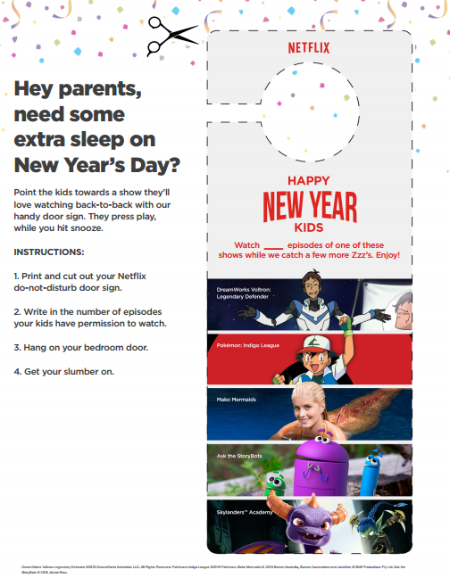 Netflix New Year's Day Door Hanger