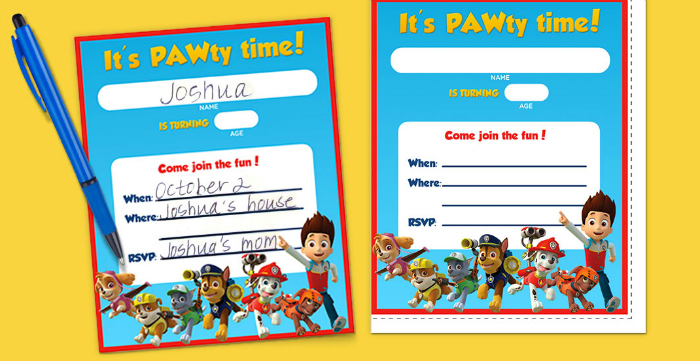 FREE PAW Patrol Printable Birthday Invitations!